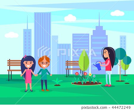 Woman Watering Flowers in Park Vector Illustration 44472249