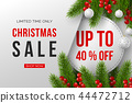 Christmas sale banner with decorative elements. 44472712
