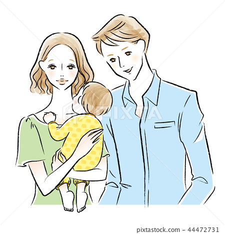 Illustration of mother and father holding baby 44472731