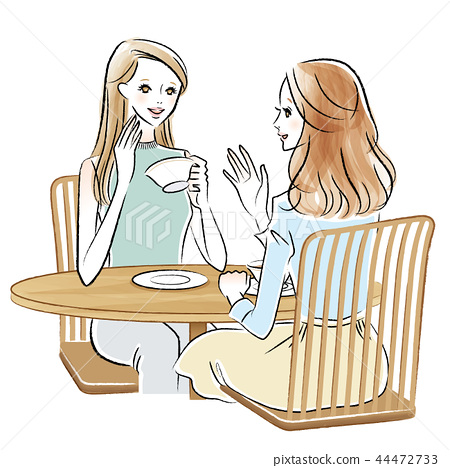 Illustration of two women chatting in a cafe 44472733