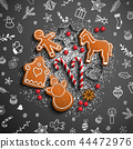 Christmas theme with white doodles and gingerbread 44472976