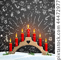 Christmas background with wooden candlestick 44472977