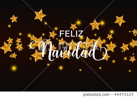Merry Christmas In Spanish.Feliz Navidad Merry Christmas Spanish Text Stock