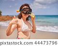woman, snorkel, beach 44473796
