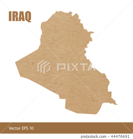 Detailed map of Iraq cut out of craft paper 44476691