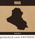 Detailed map of Iraq on craft paper 44476692