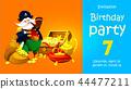 pirate with treasure. Invitation children's party 44477211
