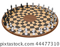 Wooden Three Player Chess. 3D rendering 44477310