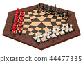 3 Player Chess or Three Man Chess. 3D rendering 44477335