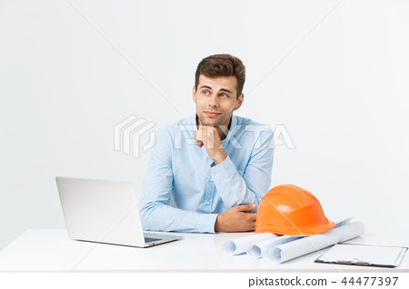 Construction engineer thinking, problem solving and solutions concept 44477397