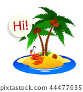 crab pirate on a desert island with palm trees 44477635