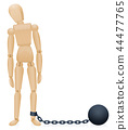 Prisoner Iron Ball And Chain Wooden Figure 44477765