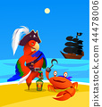 cartoon pirate parrot and crab. character design 44478006