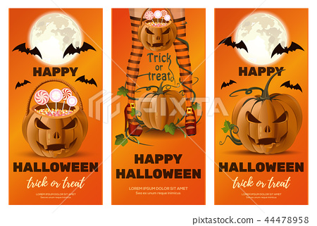 Set of vertical orange banners for Halloween 44478958
