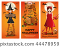 Halloween banner set with girls in fancy dress 44478959