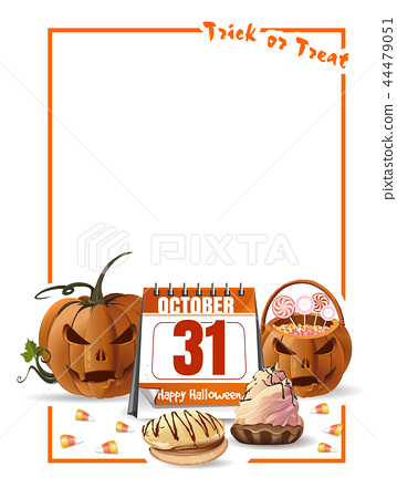 Halloween design with calendar and jack o lantern 44479051