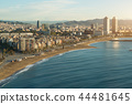 Aerial view of Barcelona Beach, Spain. 44481645