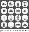 Travel landmarks icon set 44483948