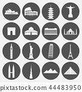 Travel landmarks icon set 44483950