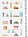 World famous landmarks icon set 44483956