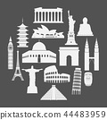 Travel landmarks icon set in paper style 44483959