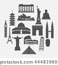 Travel landmarks icon set 44483960