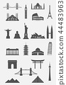 Travel landmarks icon set 44483963