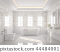 Luxury white bathroom 3d render 44484001