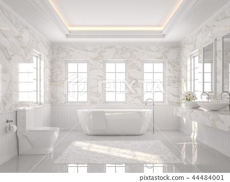Luxury white bathroom 3d render 44484001