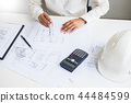 Close-up Of Person's engineer Hand Drawing Plan On Blue Print wi 44484599