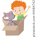 Children play with cat in the box 44484742