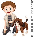 A boy and dog 44484769