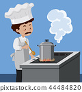 A chef cooking with pressure cooker 44484820