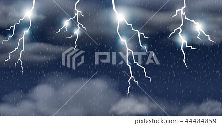 Thunderstorm on raining sky 44484859