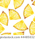 Seamless Pattern with sliced pineapple. Watercolor 44485632