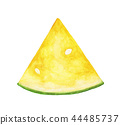 Watercolor yellow watermelon slice with seeds 44485737