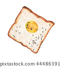 Egg on toast with black sesame seeds. Watercolor 44486391