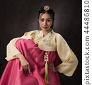 Beautiful Korean girl in Hanbok dress. 44486810