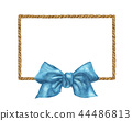 Brown Rope frame with blue bow. Watercolor 44486813