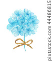 Bouquet of blue flowers tied with string. 44486815