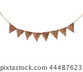 Bunting pastel brown flags, watercolor 44487623
