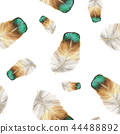 Seamless pattern of feathers in watercolor style 44488892