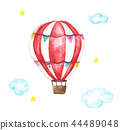 Watercolor hot air balloon, clouds and star  44489048
