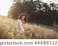 Free Happy Woman Enjoying Nature. Beauty Girl Outdoor. Freedom concept. 44489312