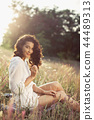 Free Happy Woman Enjoying Nature. Beauty Girl Outdoor. Freedom concept. 44489313