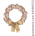 Autumn wreath from dry colored leaves and bow 44489552
