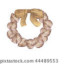 Autumn wreath from dry colored leaves and bow 44489553