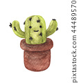Watercolor illustration of a cute cactus in pot 44489570