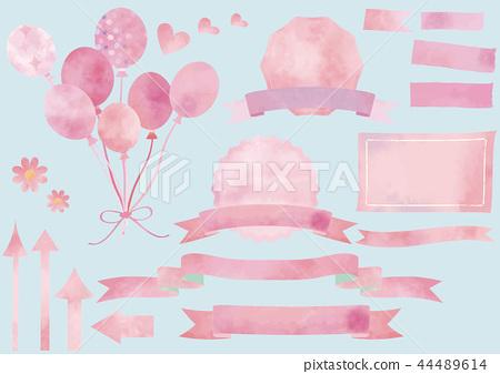 수채화 풍의 핑크 세트 (제목, 풍선, 화살표, 심장, 마스킹 테이프) 44489614