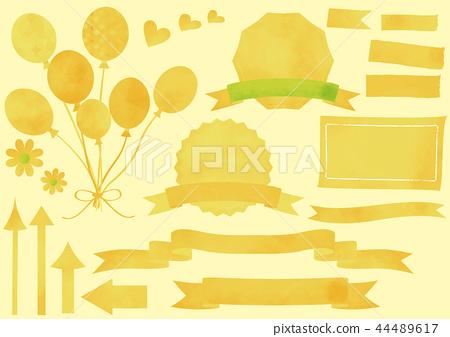 水彩風格黃色套(標題,氣球,箭頭,心,美紋紙膠帶) 44489617